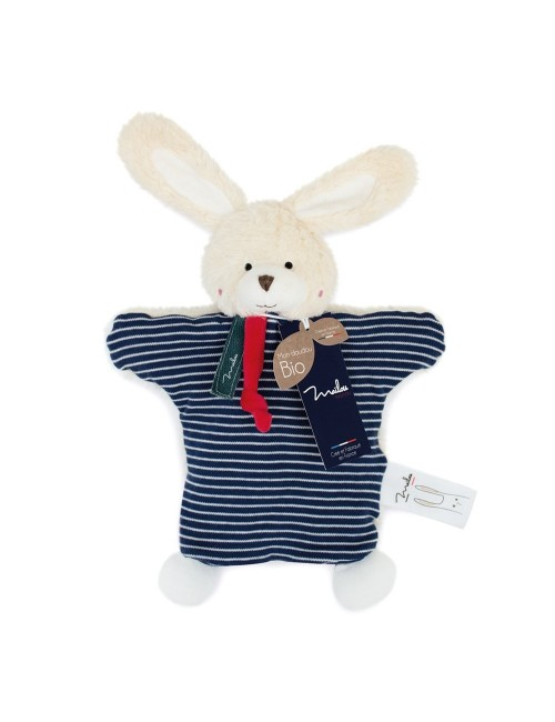 Collection BIO - LAPIN marionnette 25 cm / COTON BIO